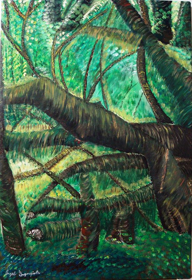 Forrest Painting - Dense Forrest by Angelo Ingargiola