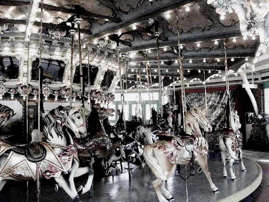 Lights Photograph - Dentzel Menagerie Carousel - Glen Echo Park Maryland by Fareeha Khawaja