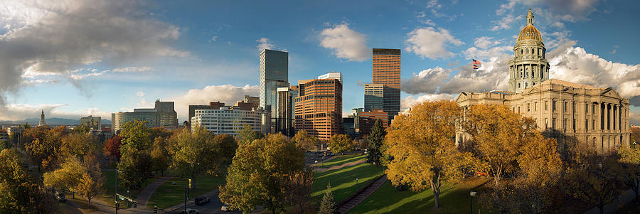 Denver Photograph - Denver, Colorado, Capitol Skyline Panoramic by Steve Mohlenkamp