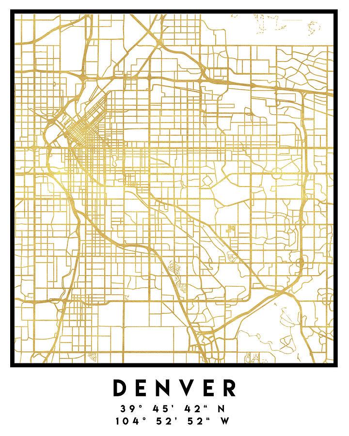 Denver Colorado City Street Map Art Digital Art by Emiliano Deificus