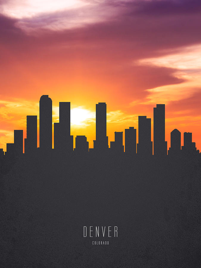 Denver Colorado Sunset Skyline 01 Painting by Aged Pixel