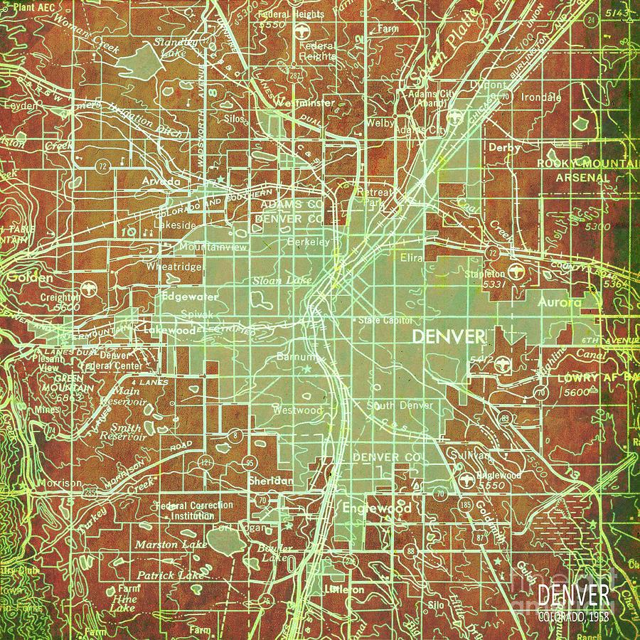 Denver Colorado Map, Green And Bronze Vintage Map, Year 1958 ... on