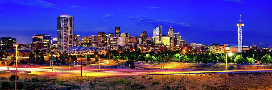 Denver Colorado Skyline Panorama Over The Speer Boulevard Bridge Photograph