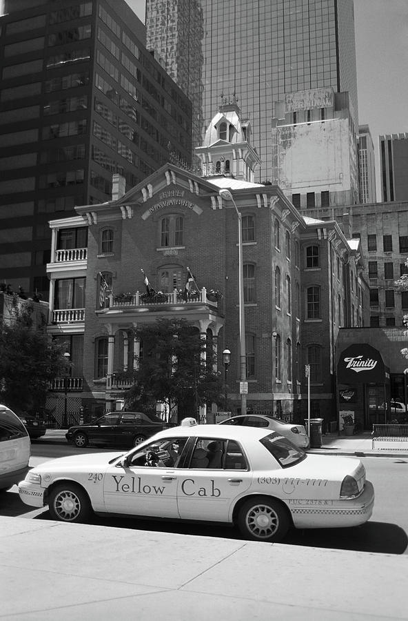 Yellow Cab Denver >> Denver Downtown With Yellow Cab Bw Photograph By Frank Romeo