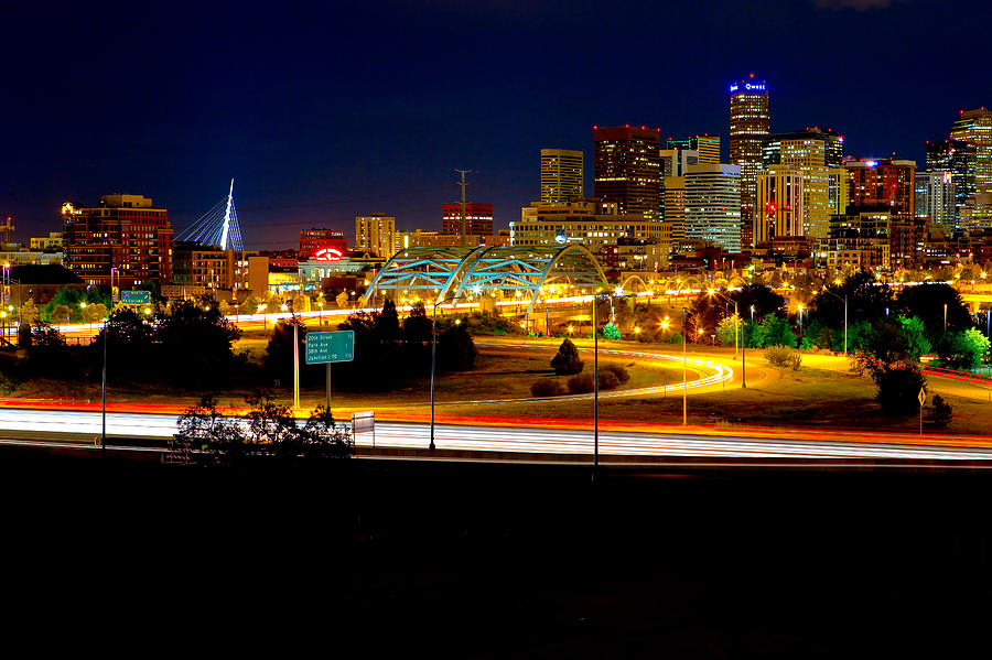 Denver Photograph - Denver Night Skyline by James O Thompson