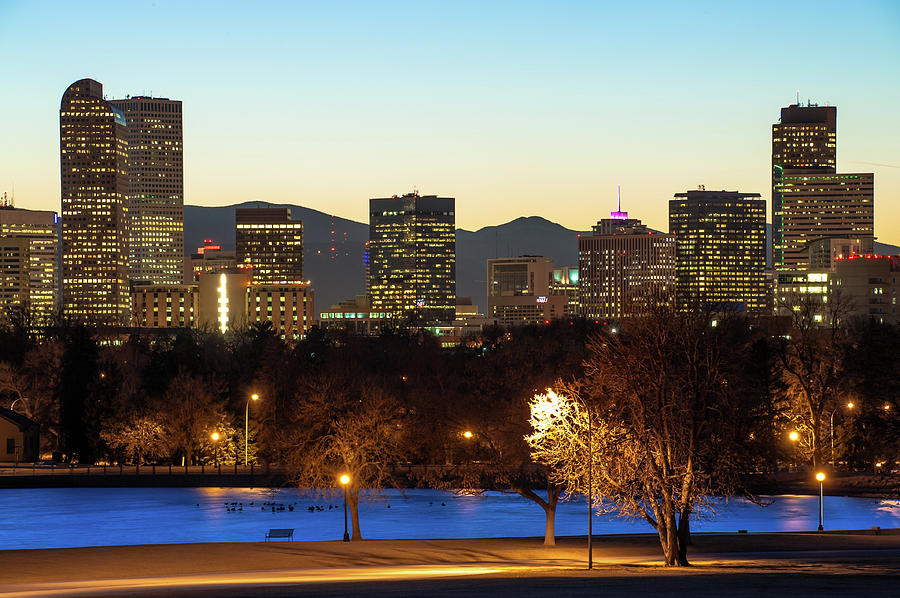 America Photograph - Denver Skyline - City Park View - Cool Blue by Gregory Ballos