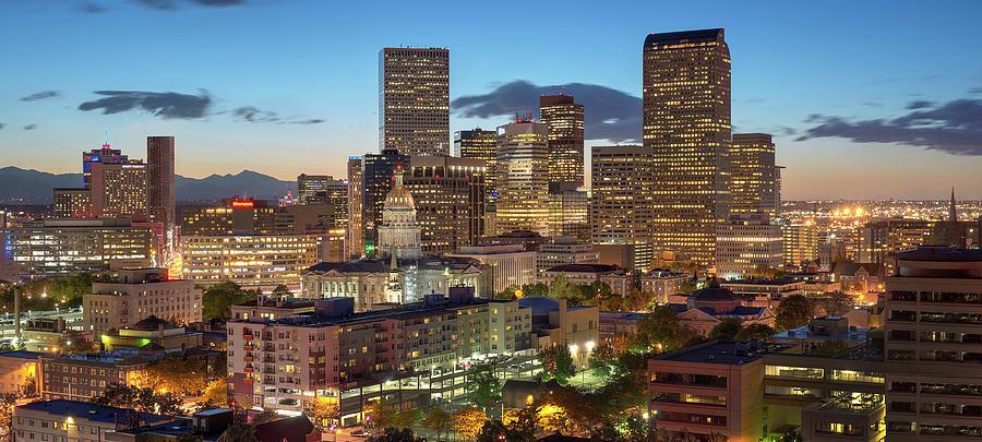 Denver Photograph - Denver Skyline Evening Panoramic by Steve Mohlenkamp