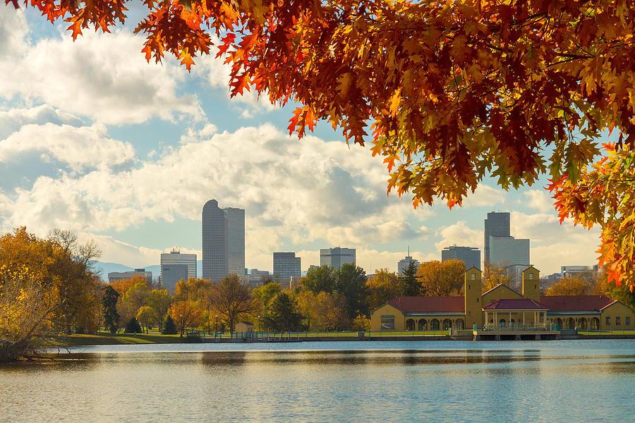 Denver Skyline Fall Foliage View Photograph