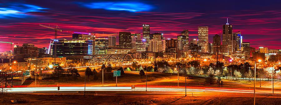 Denver Skyline Sunrise Photograph