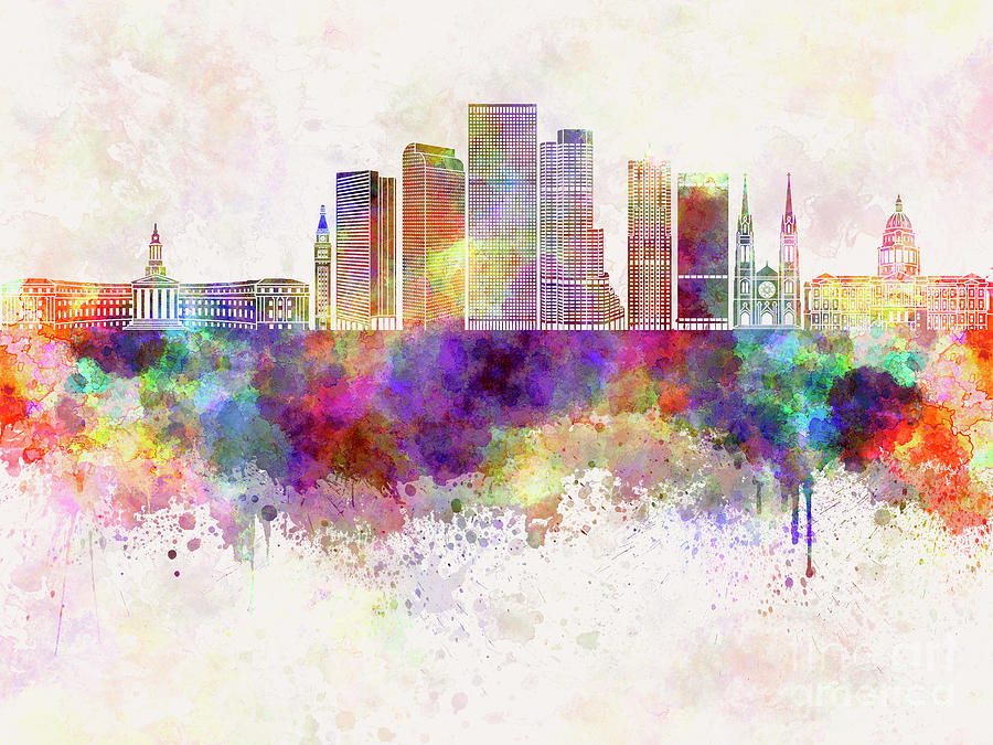 Denver V2 Skyline In Watercolor Background Painting by