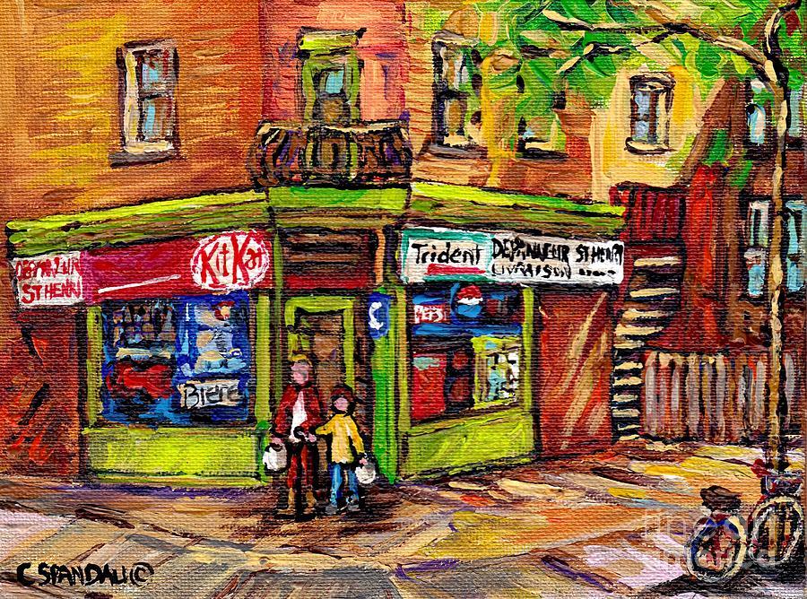 Depanneur du coin scene de ville de montreal au printemps carole spandau artiste peintre - Cote d un artiste peintre ...