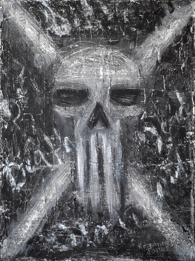 Skull Painting - Departed Darkness by Roseanne Jones