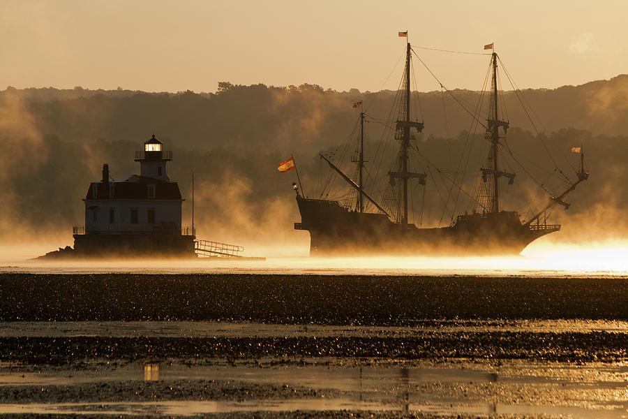 Mist Photograph - Departure Of El Galeon II by Jeff Severson