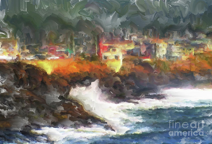 Depoe Bay Painting - Depoe Bay Oregon by Methune Hively
