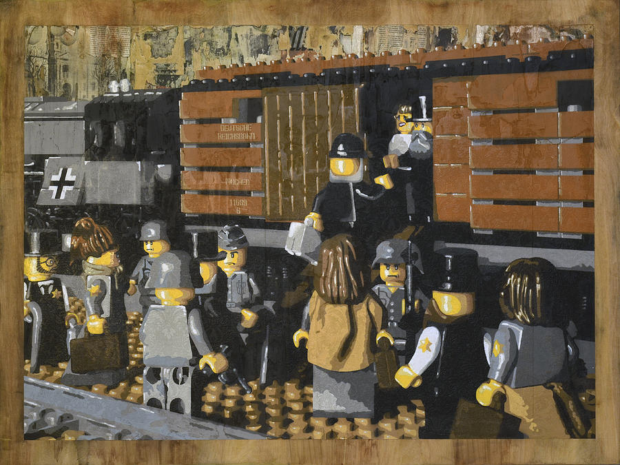 Lego Painting - Deportation From Warsaw To Treblinka July 22 1942 by Josh Bernstein