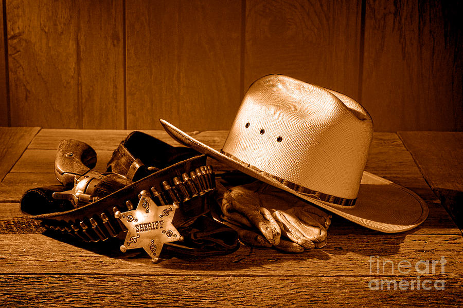 Sheriff Photograph - Deputy Sheriff Gear - Sepia by Olivier Le Queinec