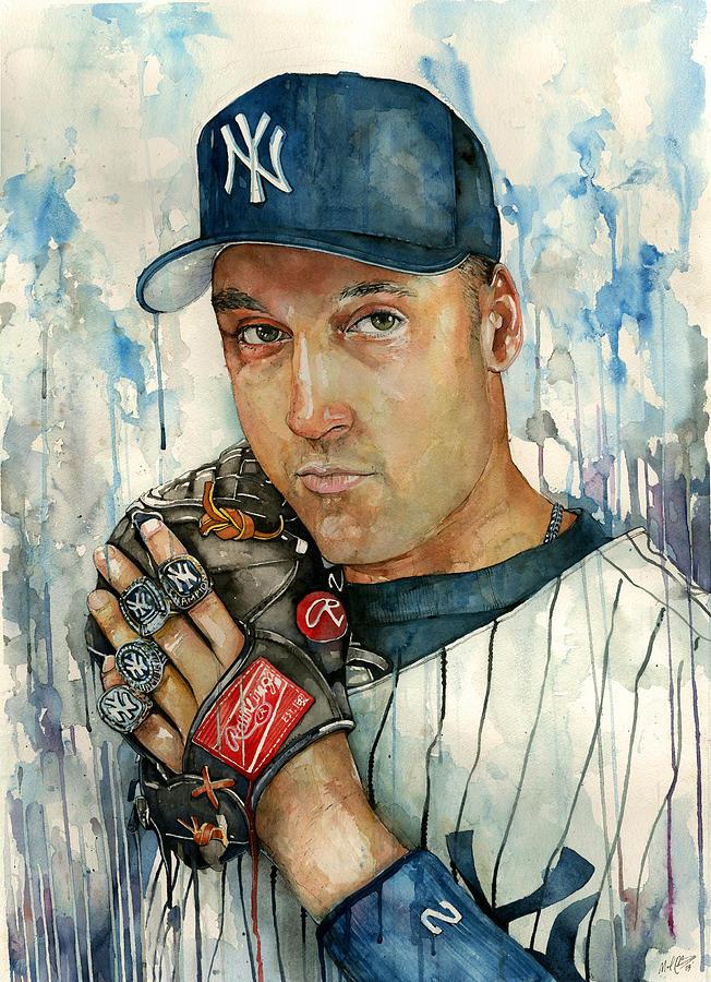Derek Painting - Derek Jeter by Michael  Pattison