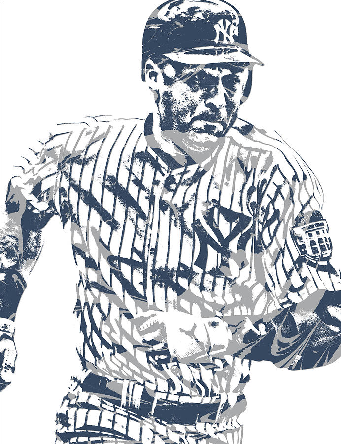 Derek Jeter Mixed Media - Derek Jeter New York Yankees Pixel Art 12 by Joe Hamilton