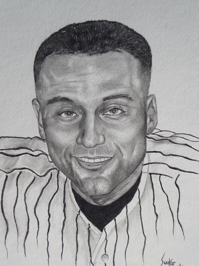 Derek Jeter Drawing by Stephen Sookoo