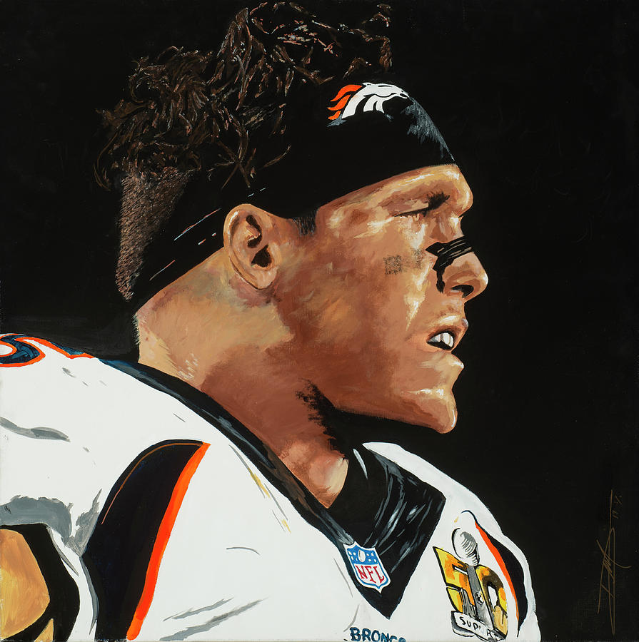 Derek Wolfe Drawing by Don Medina
