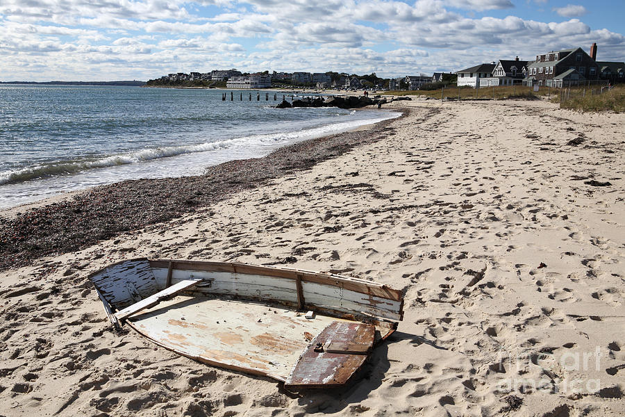 Derelict Photograph - Derelict  Boat, Falmouth Beach by Bryan Attewell
