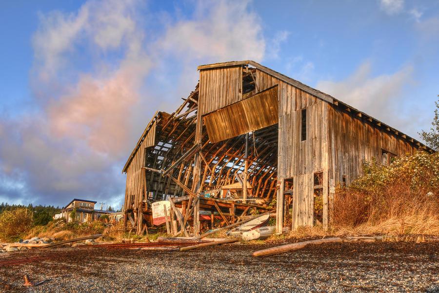 Boat Shed Digital Art - Derelict Boatshed by Darryl Luscombe