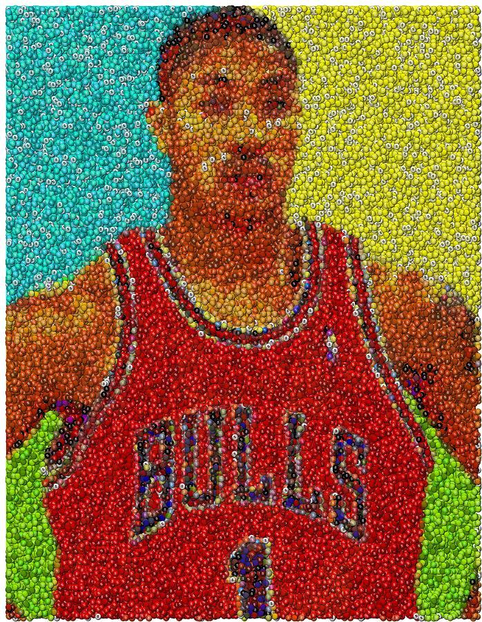 Chicago Mixed Media - Derrick Rose Skittles Mosaic by Paul Van Scott