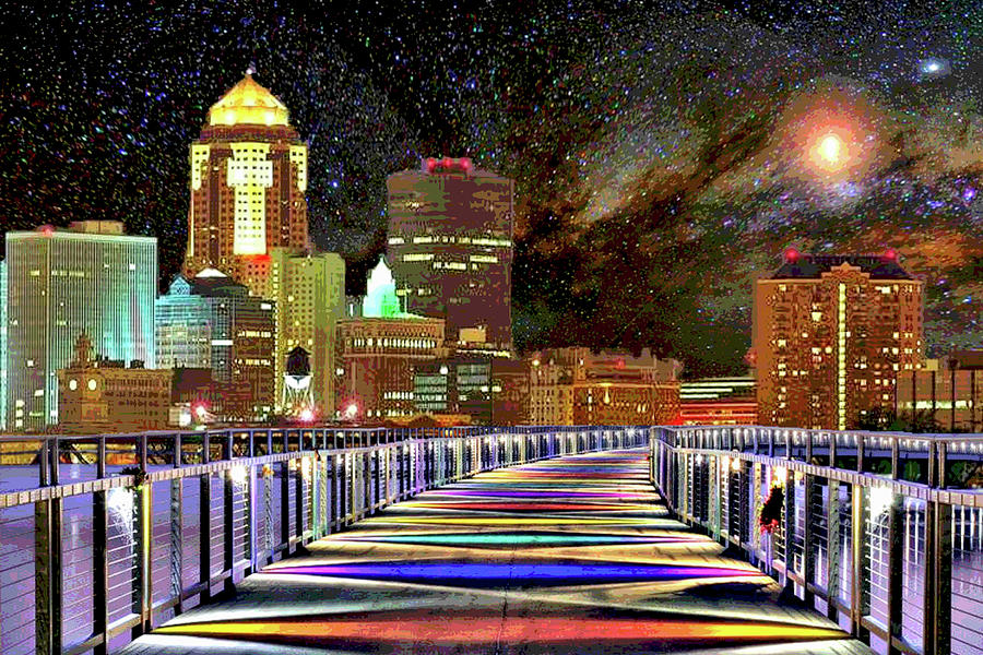 Des Moines Grays Bridge Cityscape by Mary Clanahan