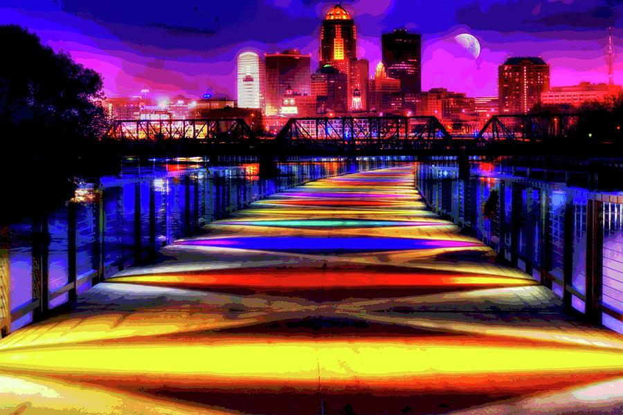 Des Moines Digital Art - Des Moines Grays Lake Bridge Cityscape by Mary Clanahan