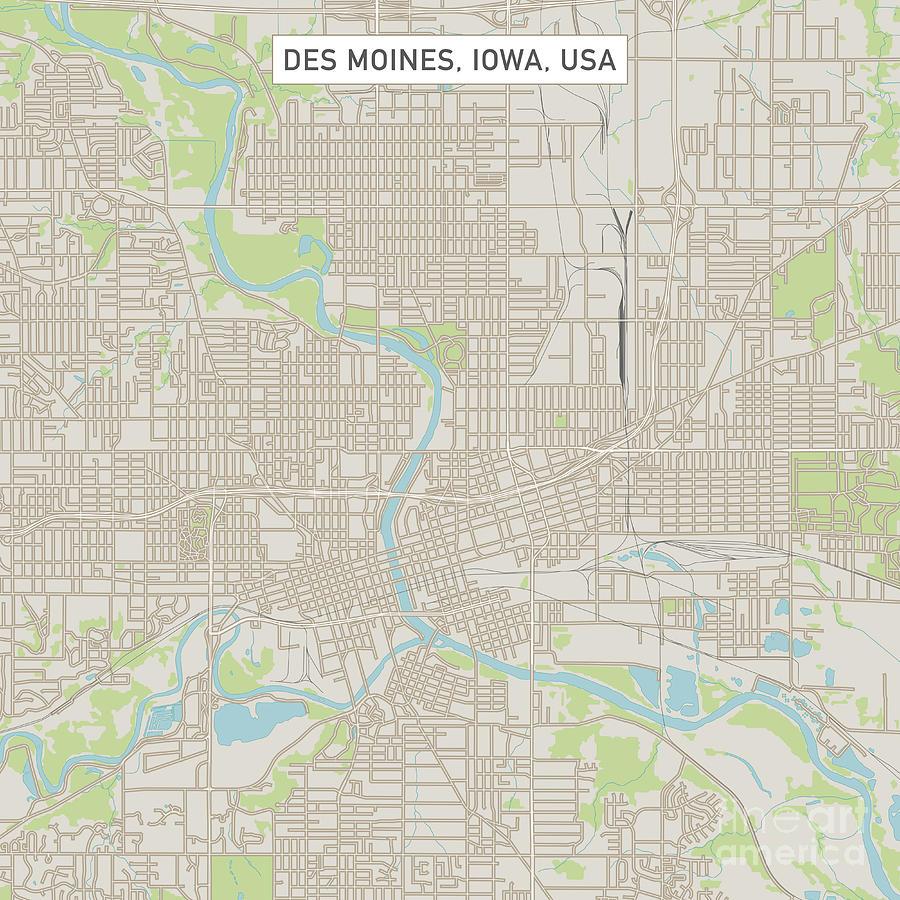 Des Moines Iowa Us City Street Map Digital Art by Frank Ramspott