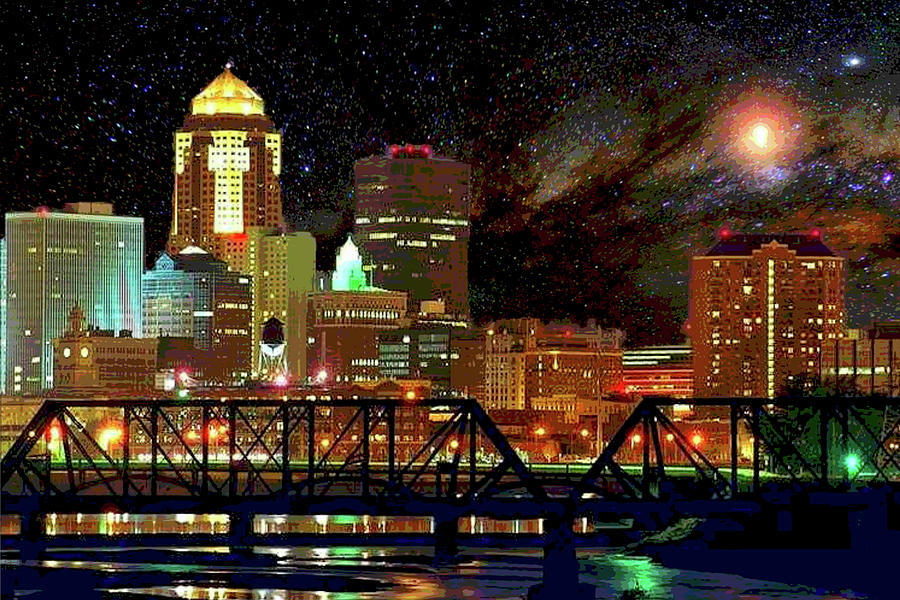 Des Moines Vivid Nightscape by Mary Clanahan