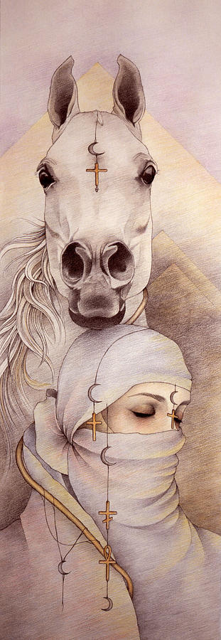 Arabian Horse Drawing - Desert Angels by Johanna Pieterman