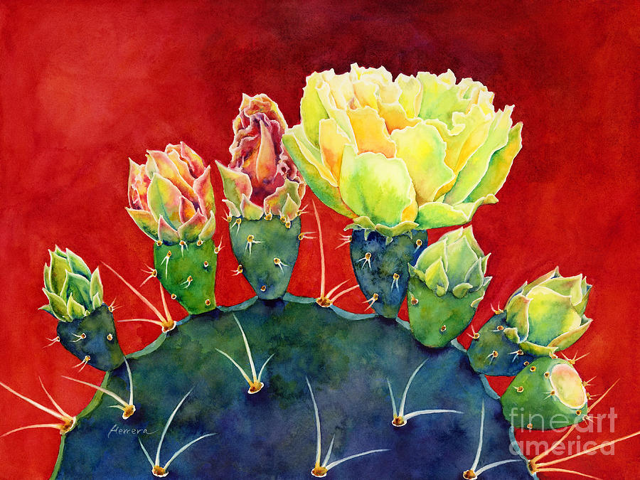Cactus Painting - Desert Bloom 3 by Hailey E Herrera