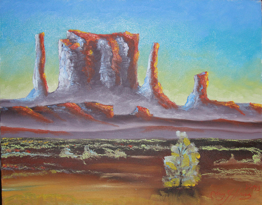 Oil Painting - Desert Butte by Gregory Jeffries
