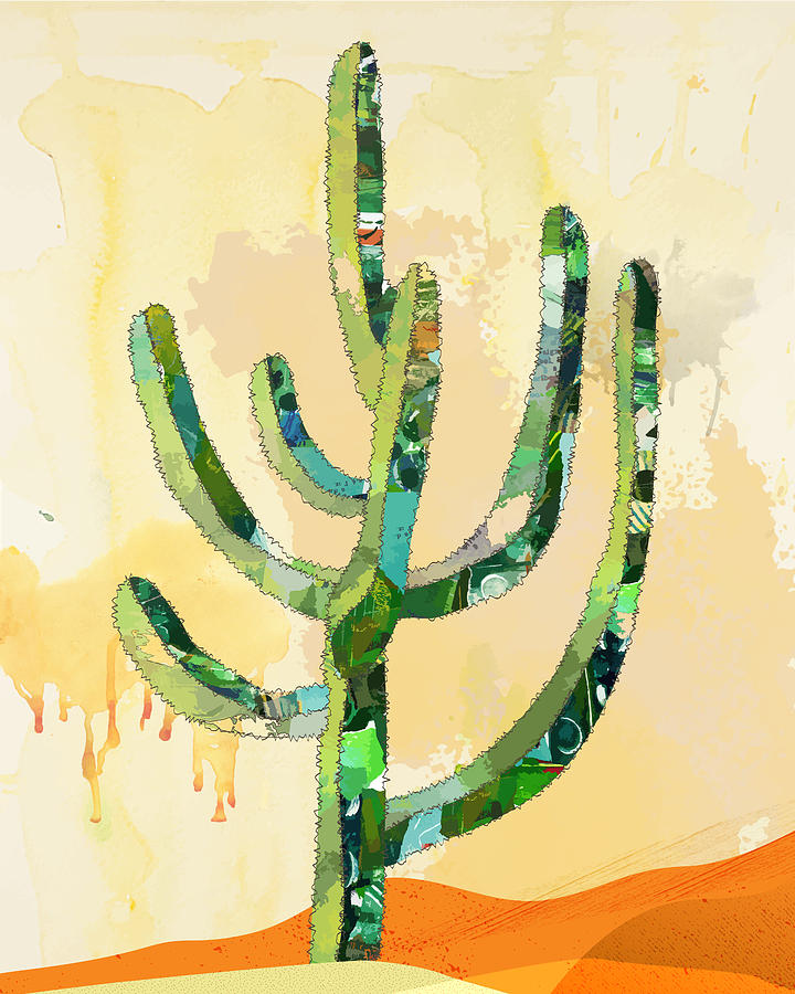 Desert Cactus Collage Digital Art by Robin Luther