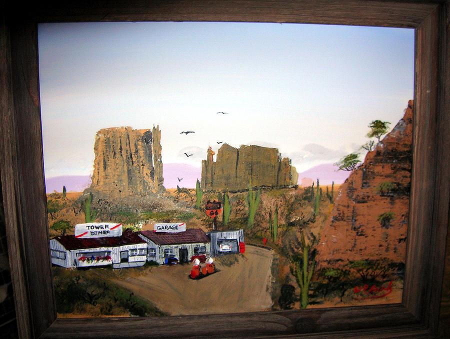 Desert Painting - Desert Diner by William Plank