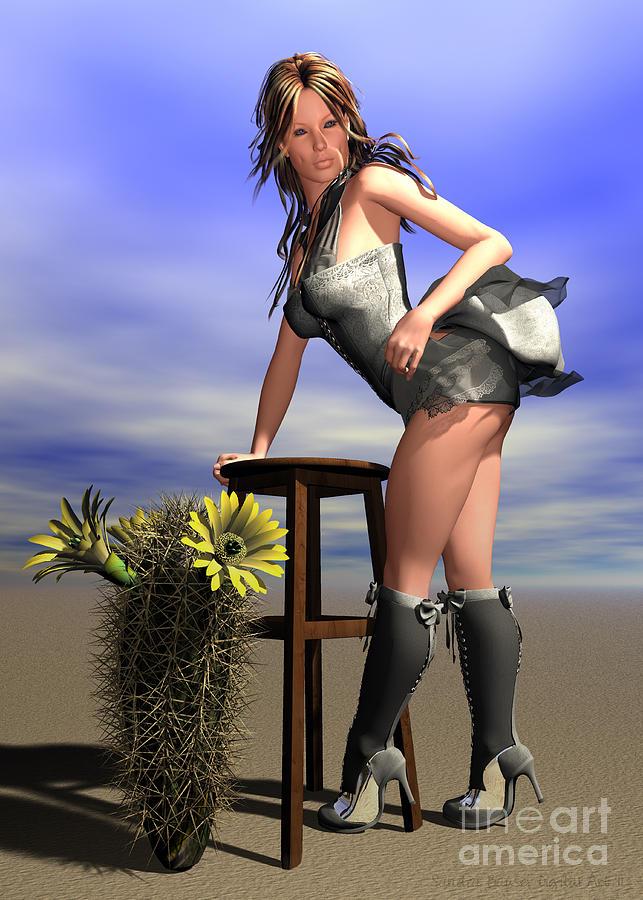 Bryce Digital Art - Desert Flower by Sandra Bauser Digital Art