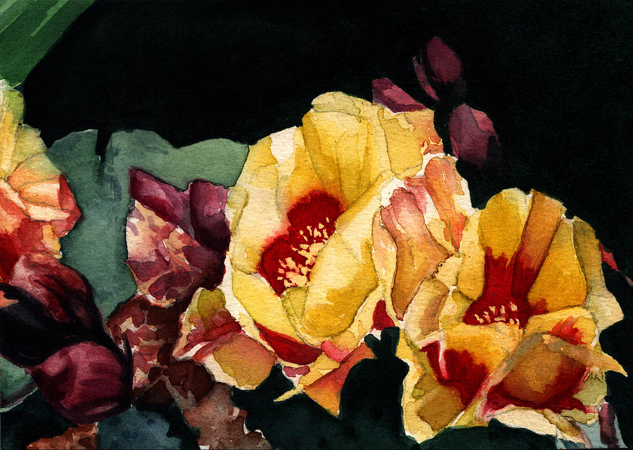 Watercolor Painting - Desert Flowers by Patricia Halstead