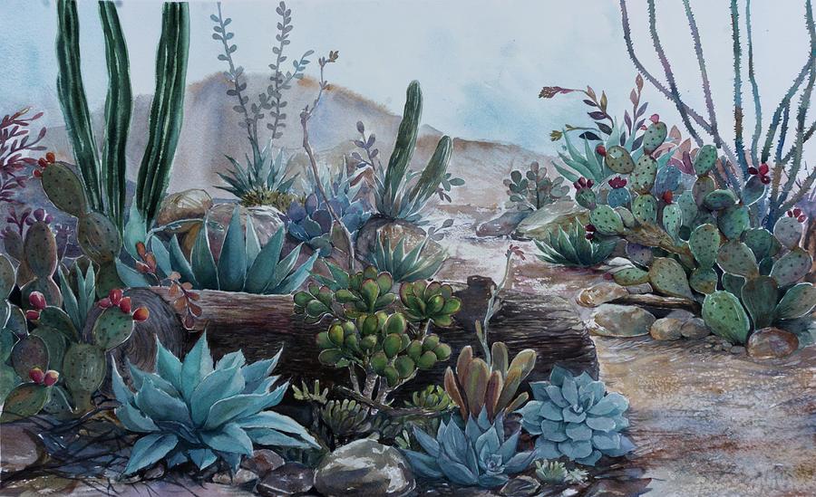 Desert Painting - Desert Garden by Alla Jordan