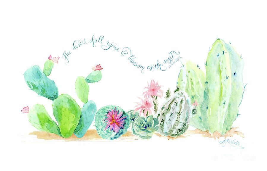 Desert In Bloom 2 Watercolor Desert Cacti N Succulents