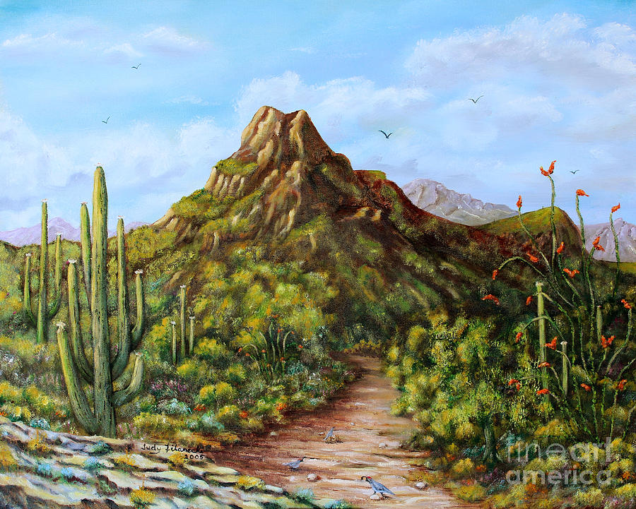 Desert Landscape Painting - Desert Landscape Gambels Quail by Judy Filarecki