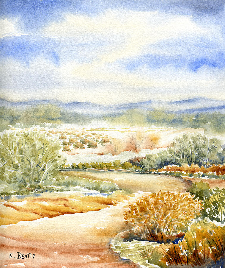 Landscape Painting - Desert Landscape Watercolor by Karla Beatty