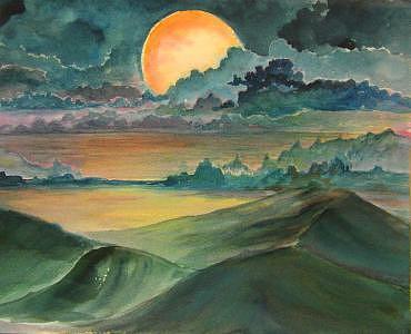 Desert Moon Print - Desert Moon by Veda Hale