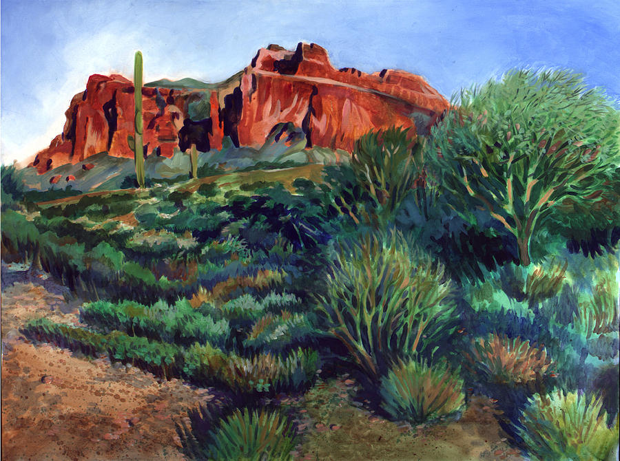 Acrylic Painting - Desert Mountain Tapestry by Kent Looft