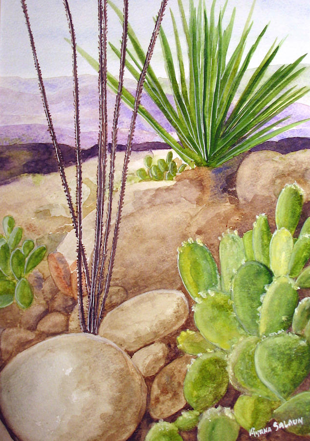 Desert Plants Painting By Myrna Salaun