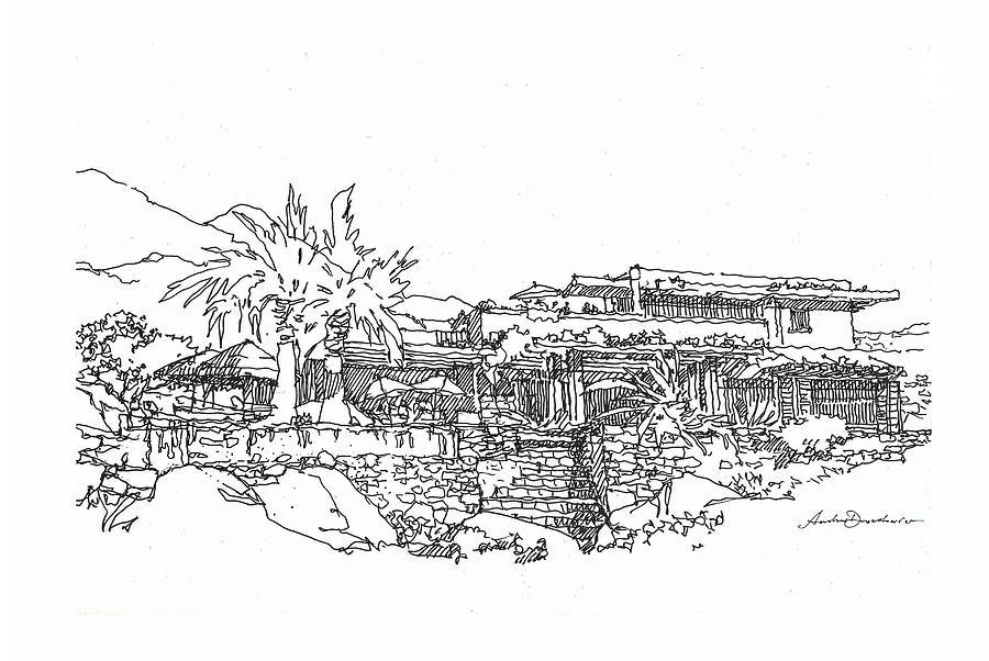 Desert Drawing - Desert Residence by Andrew Drozdowicz
