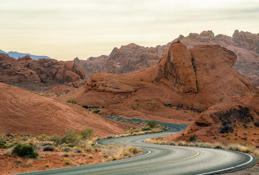Desert road in valley of fire state park, Nevada by Asif Islam