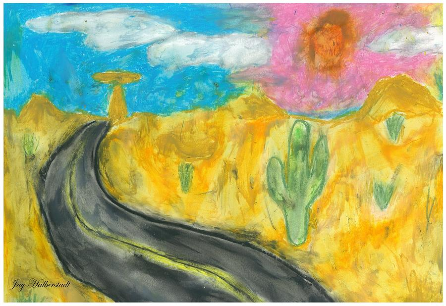 Landscape Pastel - Desert Road by Jayson Halberstadt