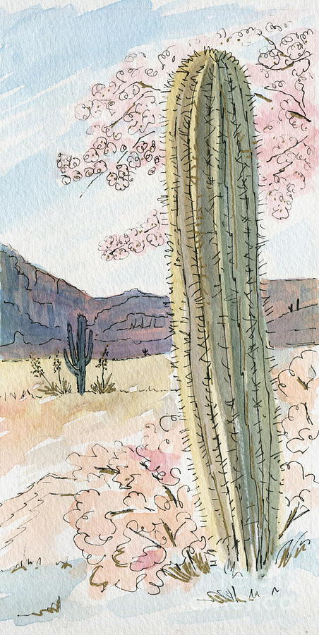 Desert Painting - Desert Scene Two Ink And Watercolor by Marilyn Smith