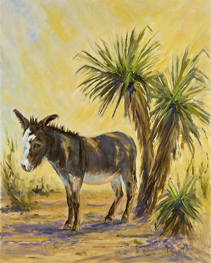 Burro Painting - Desert Shade by Marla Smith